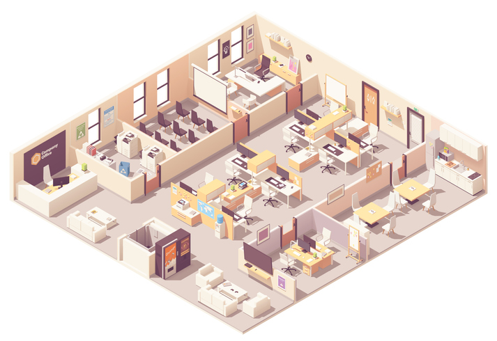 Isometric corporate office interior plan. Reception, elevator, conference room, presentation room, executive or CEO office, workplaces with computers, kitchen, relax area and office equipment