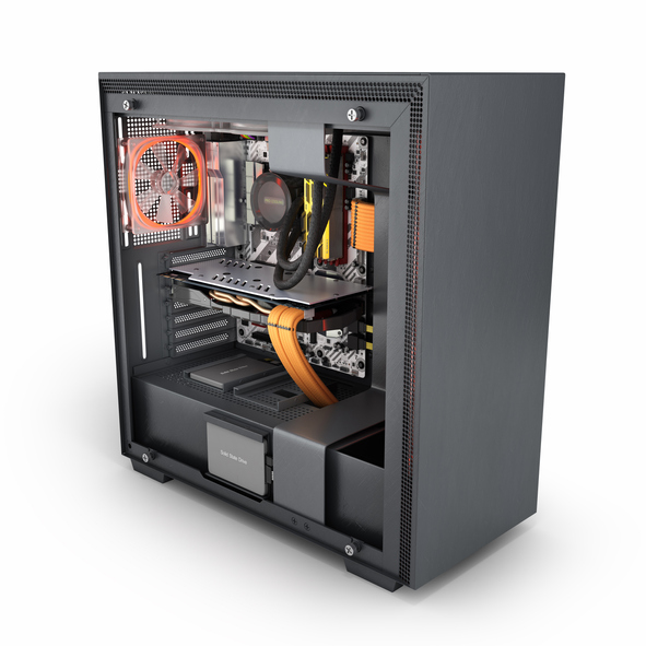 A custom built desktop computer tower with the side panel removed, showing the internal components.